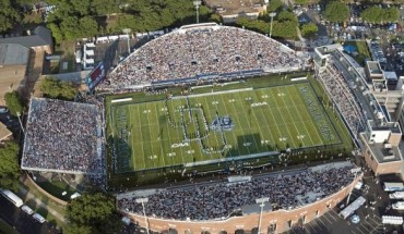 An aerial view of S. B. Ballard Stadium during an ODU football game (Photo courtesy of Tina Price/Old Dominion University).