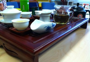 The tea set used for the Chinese Tea Ceremony adds to the artistic presentation (photo by Arrielle Brooks).