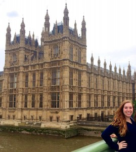 Elena Beasley poses in front of the House of Parliament in Westminister, England.