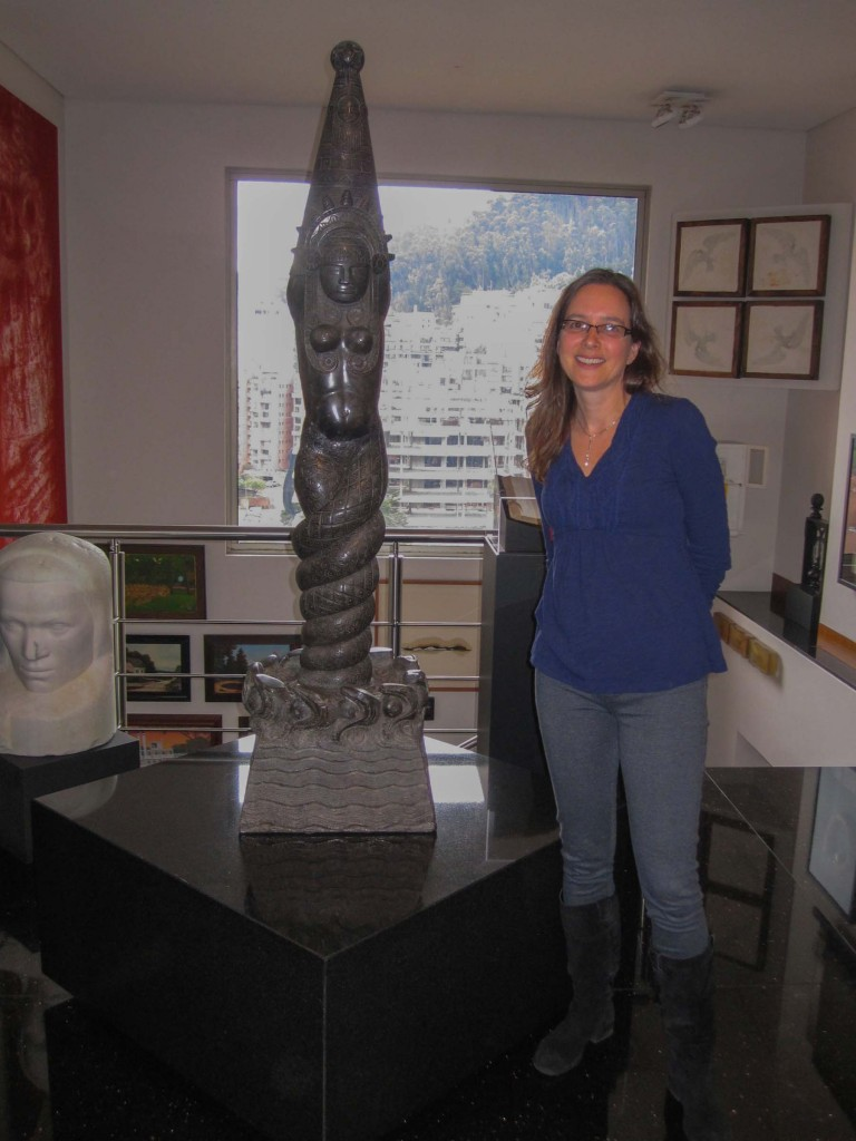 Michele Greet poses wth Bachué by Rómulo Rozo from the collection of José Darío Gutiérrez, Bogata, Colombia. Photo provided by Greet.