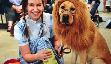Courtney Simmons and her service dog, Zido, dressed up for Halloween.