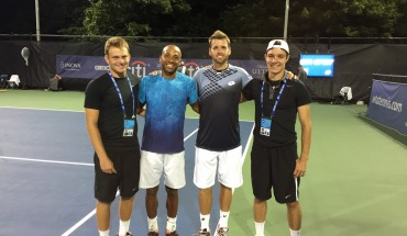 Capitel and Moran pose at the Citi Open with professional tennis players.  Courtesy of Moran.