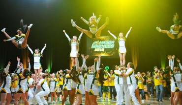 Mason cheerleaders perform during Mason Madness. (Claire Cecil/Fourth Estate)