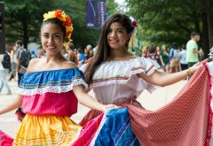 Students enjoy Bienvenida Latina opening for the Hispanic Heritage Month Annual Kick-Off Party. Photo by Evan Cantwell/Creative Services/George Mason University