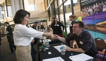 Students meet with recruiters from more than 25 national and regional arts, entertainment and media employers based in the DC metro region at the Arts in the Real World Internship and Career Fair. Photo by Evan Cantwell/George Mason University