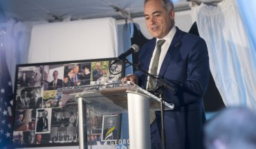 President Ángel Cabrera speaks at the Johnson Center North Plaza naming ceremony in honor of Roger Wilkins, professor of history and American culture. Photo by Evan Cantwell/Creative Services