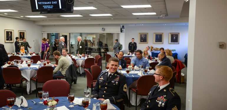 Attendees gather for the 2013 Veterans Day Luncheon at the Fairfax campus. Photo by Alexis Glenn/Creative Services/George Mason University