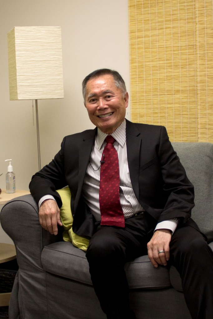 George Takei flashes his notorious smile in the green room of the Center for the Arts. Photo Credit: Amy Rose