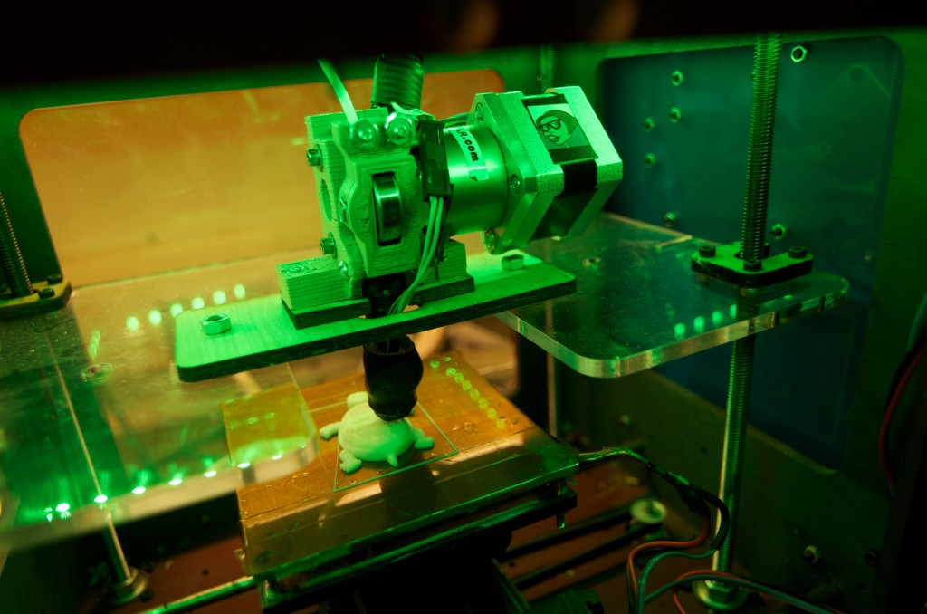 A 3D printer, photo by Keith Kissel, creative commons license.