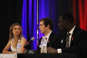Elizabeth Dorrian, Colin Sapko and Wisdom Nwike represented the College Republicans at a public debate in the Johnson Center on Oct. 19. (Claire Cecil/Fourth Estate)