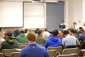 Professor Gary De La Pena warned his MATH 114 class about con-artists pretending to provide free tutoring services in order to receive students' personal information. (Claire Cecil/Fourth Estate)