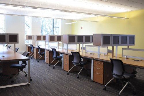 Study carrels on the fifth floor of Fenwick were designed to be places where graduate students can conveniently store research materials. (Johannah Tubalado/Fourth Estate)