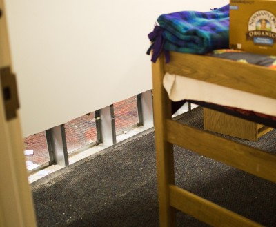 A view from inside a third-floor Northern Neck dorm on Tuesday.