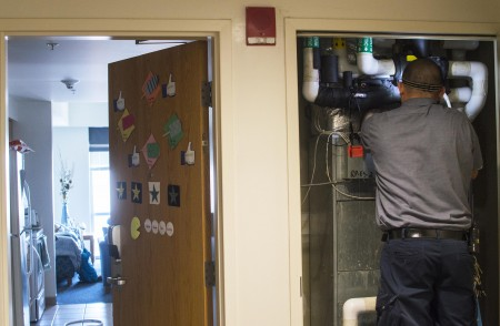 On Tuesday, repairs were made to the fifth floor of Northern Neck. On Friday night, a water line burst on this floor causing flooding throughout the building. (Photos by Alya Nowilaty/Fourth Estate)