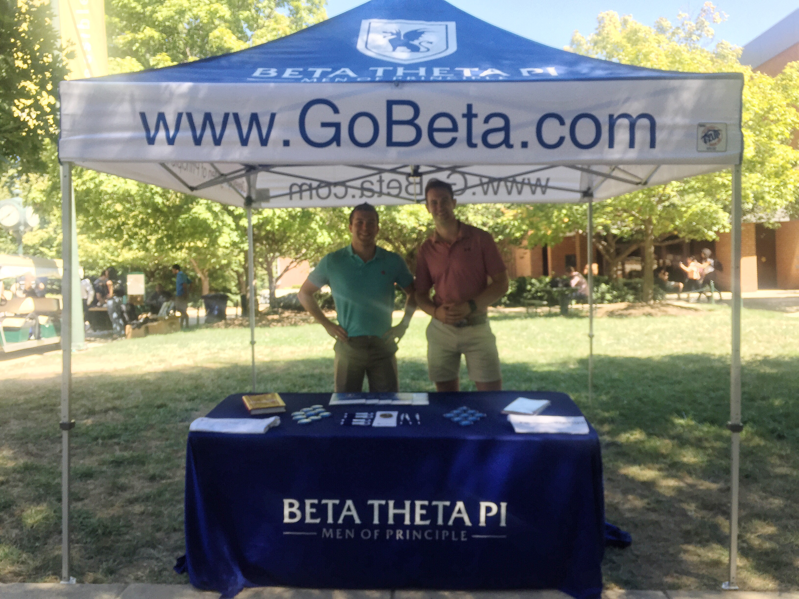 Jordan Lemoine & John Hubbard actively in the JC quad area, recruiting for a newly formed fraternity here at George Mason. Beta Theta Pi has successfully recruited 30 students but looks to expand out to at least a total of 50.