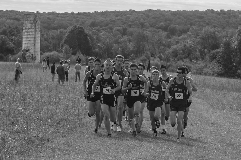 """George Mason University men's cross country team competes in the 2014 George Mason University Invitational at the Oatlands Plantation in Leesburg, Va. on October 4, 2014. Photo by Craig Bisacre/Creative Services/George Mason University."""