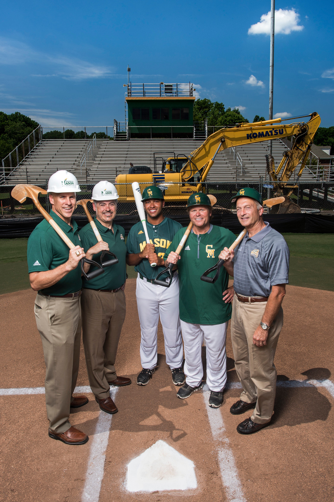 Baseball Stadium construction group photo. Photo by Evan Cantwell/Creative Services/George Mason University