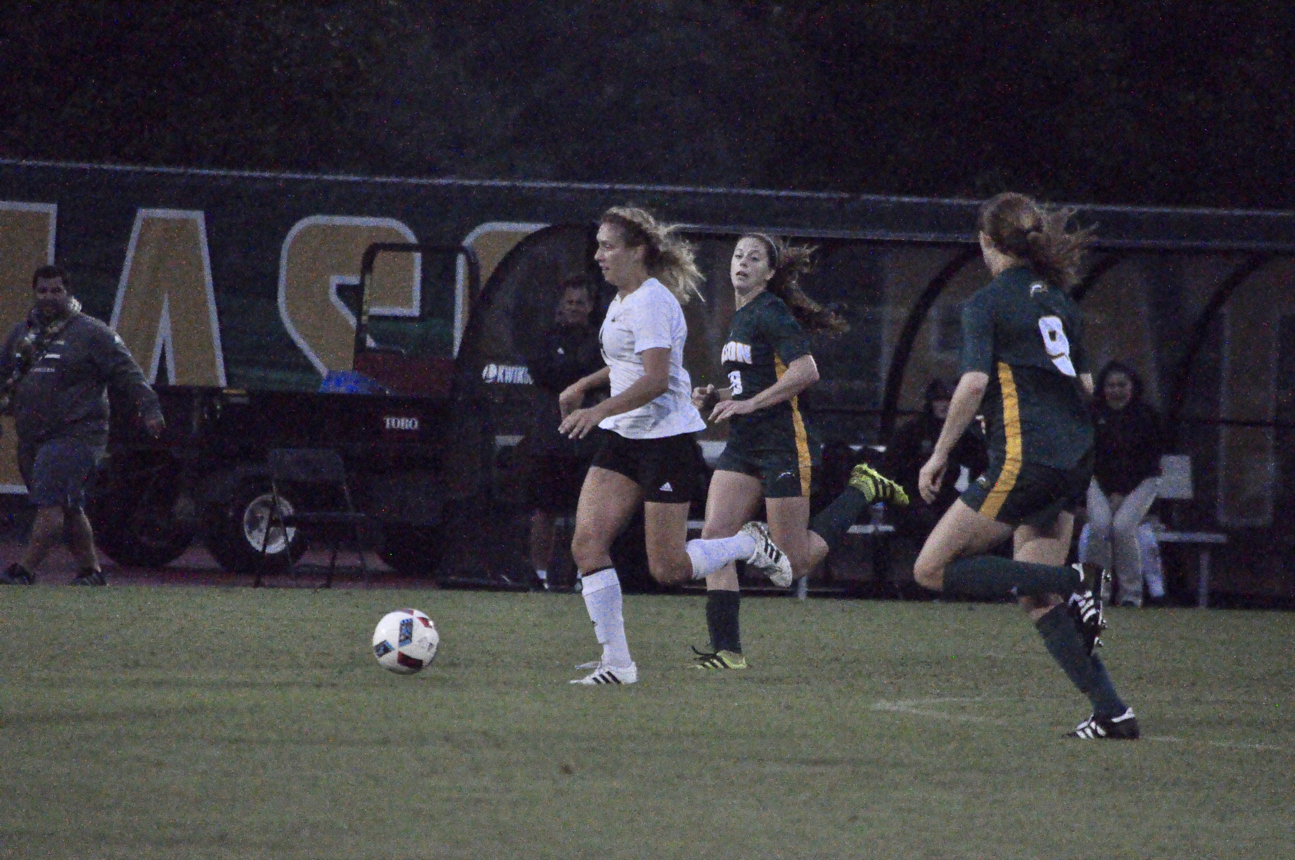 Erin Mitchell (back) chases the ball during the match on September 29. Credit: Dave Schrack, IV Estate
