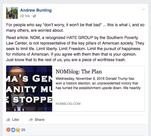 Bunting's Facebook post that caused a stir for student and faculty.